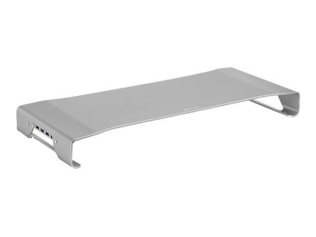 Sharkoon Pro - Aufstellung für Monitor/Notebook - Aluminiumlegierung - Silber - Schreibtisch