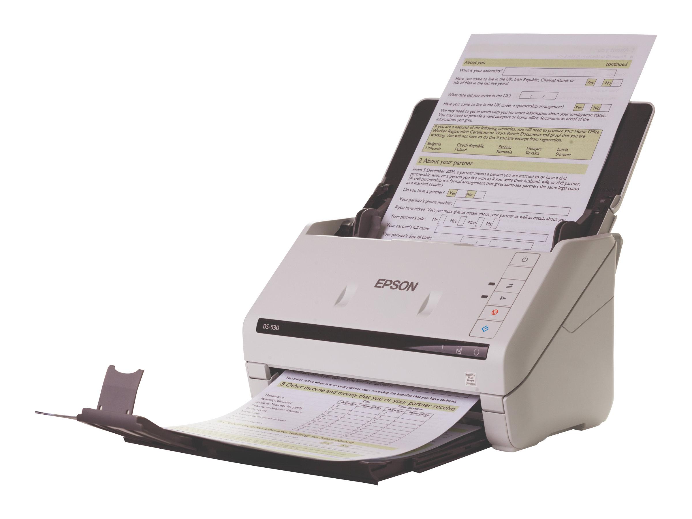 Epson WorkForce DS-530 - Dokumentenscanner - Duplex - A4/Legal - 600 dpi x 600 dpi - bis zu 35 Seiten/Min. (einfarbig) / bis zu