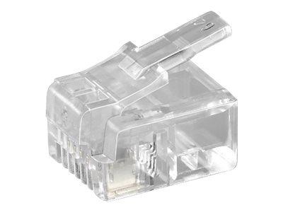 goobay - Telefonanschluss - RJ-11/RJ-14 (S) - ungeschirmt - durchsichtig (Packung mit 10)