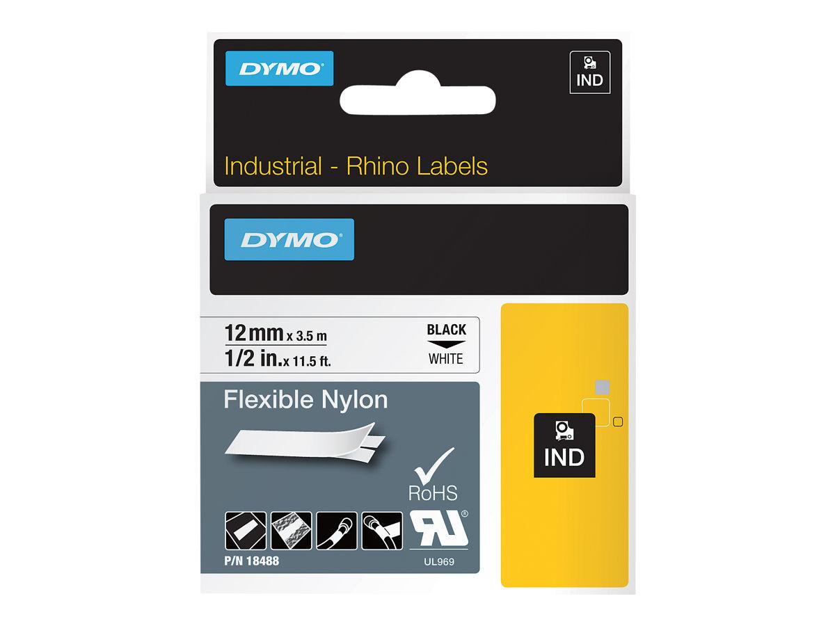 DYMO IND - Nylon - Klebstoff - Schwarz auf Weiss - Rolle (1,2 cm x 4 m) 1 Rolle(n) flexibles Etikettenband - für Rhino 4200, 420