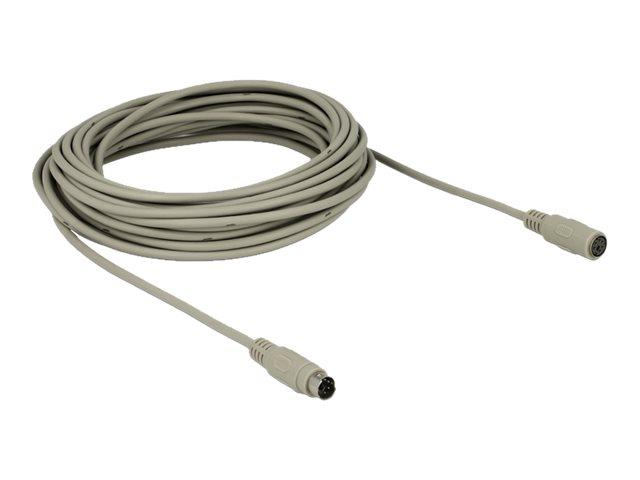 DeLock - Tastatur-/Mausverlängerungskabel - PS/2 (W) bis PS/2 (M) - 10 m - Grau