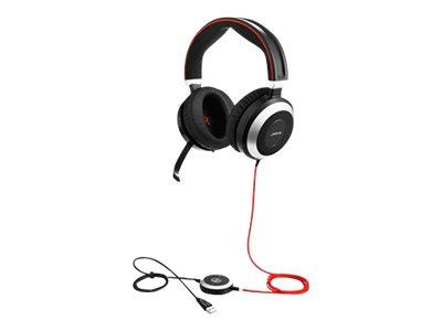 Jabra Evolve 80 UC stereo - Headset - ohrumschliessend - kabelgebunden - aktive Rauschunterdrückung - 3,5 mm Stecker