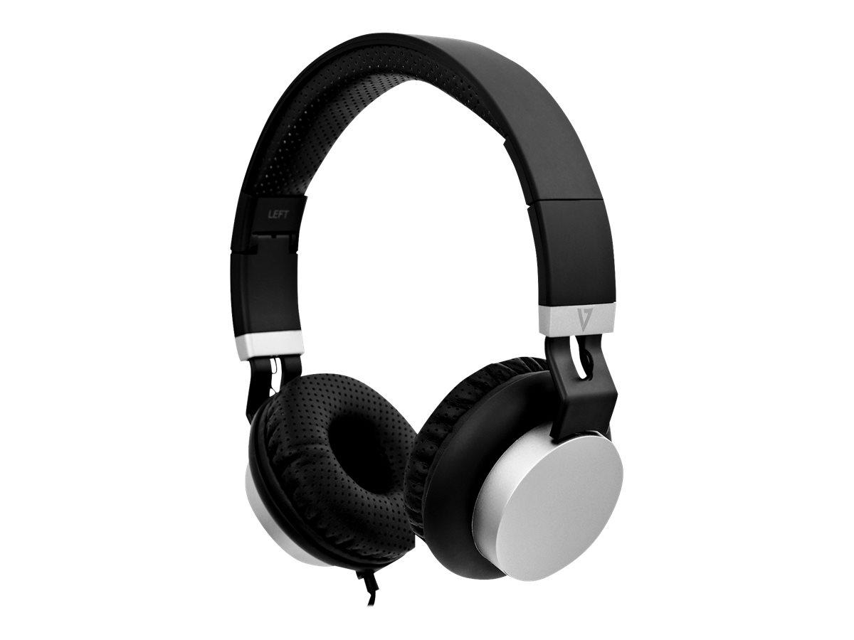 V7 Lightweight Headphones HA601-3EP - Kopfhörer mit Mikrofon - On-Ear - kabelgebunden - 3,5 mm Stecker - Geräuschisolierung