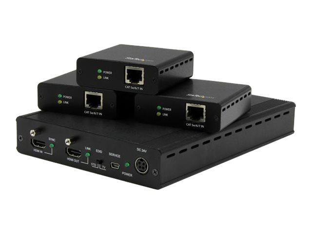 StarTech.com 3 Port HDBaseT Extender Kit mit 3 Empfängern - 1x3 HDMI über CAT5 Splitter - Bis zu 4K - Erweiterung für Video/Audi