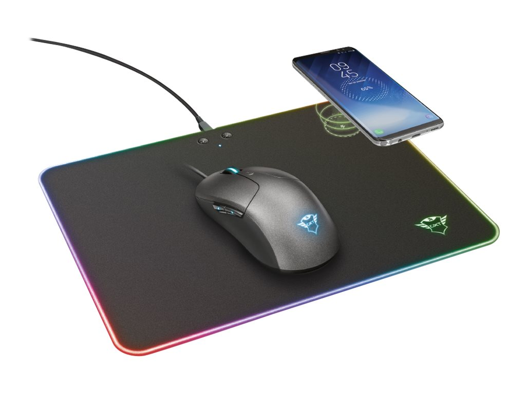 Trust GXT 750 Qlide - Beleuchtetes Mousepad - mit induktives Qi-Ladegerät