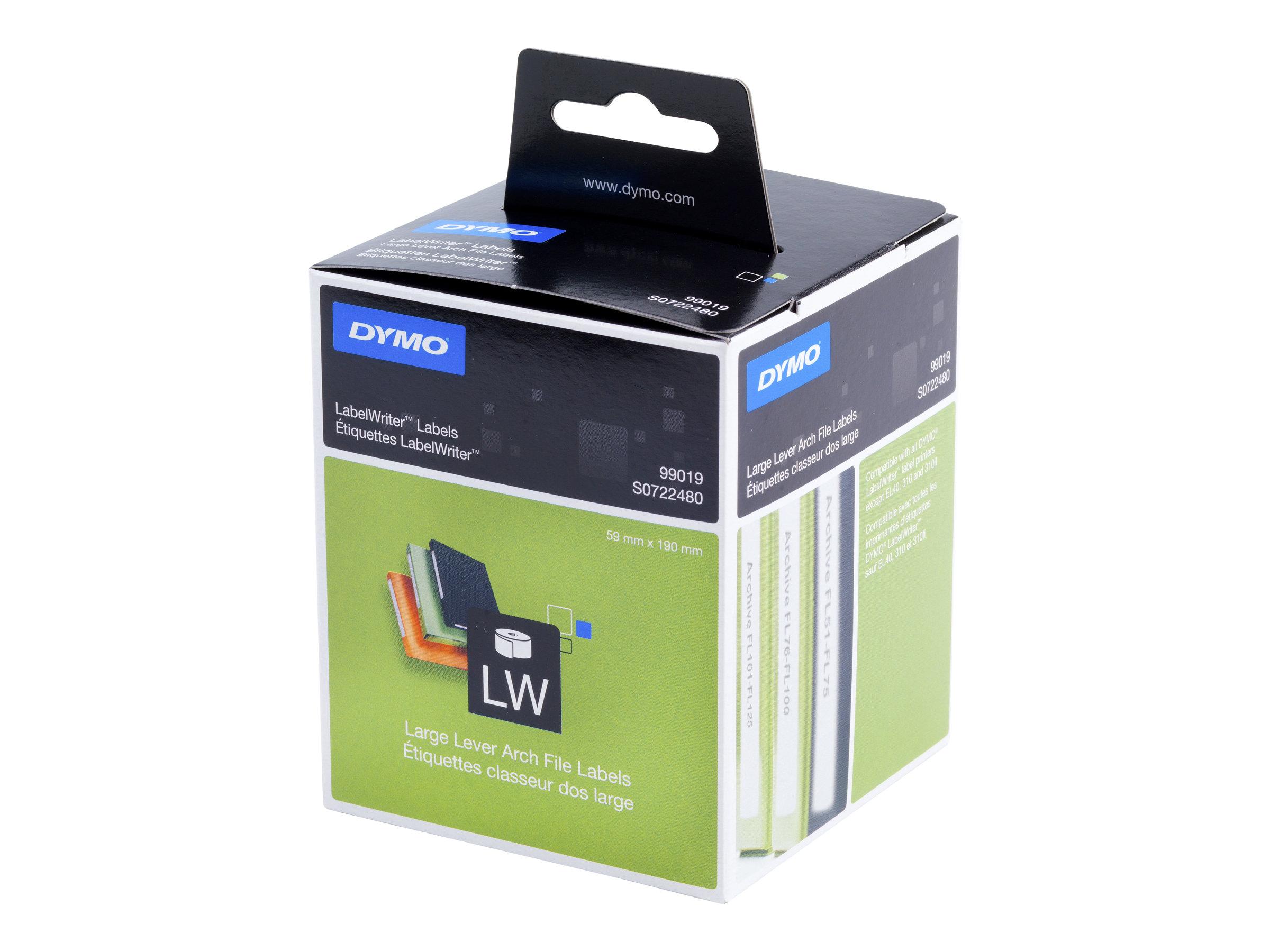 DYMO LabelWriter LAF Labels Large - Schwarz auf Weiss - 59 x 190 mm 110 Etikett(en) (1 Rolle(n) x 110) Ordneretiketten - für DYM