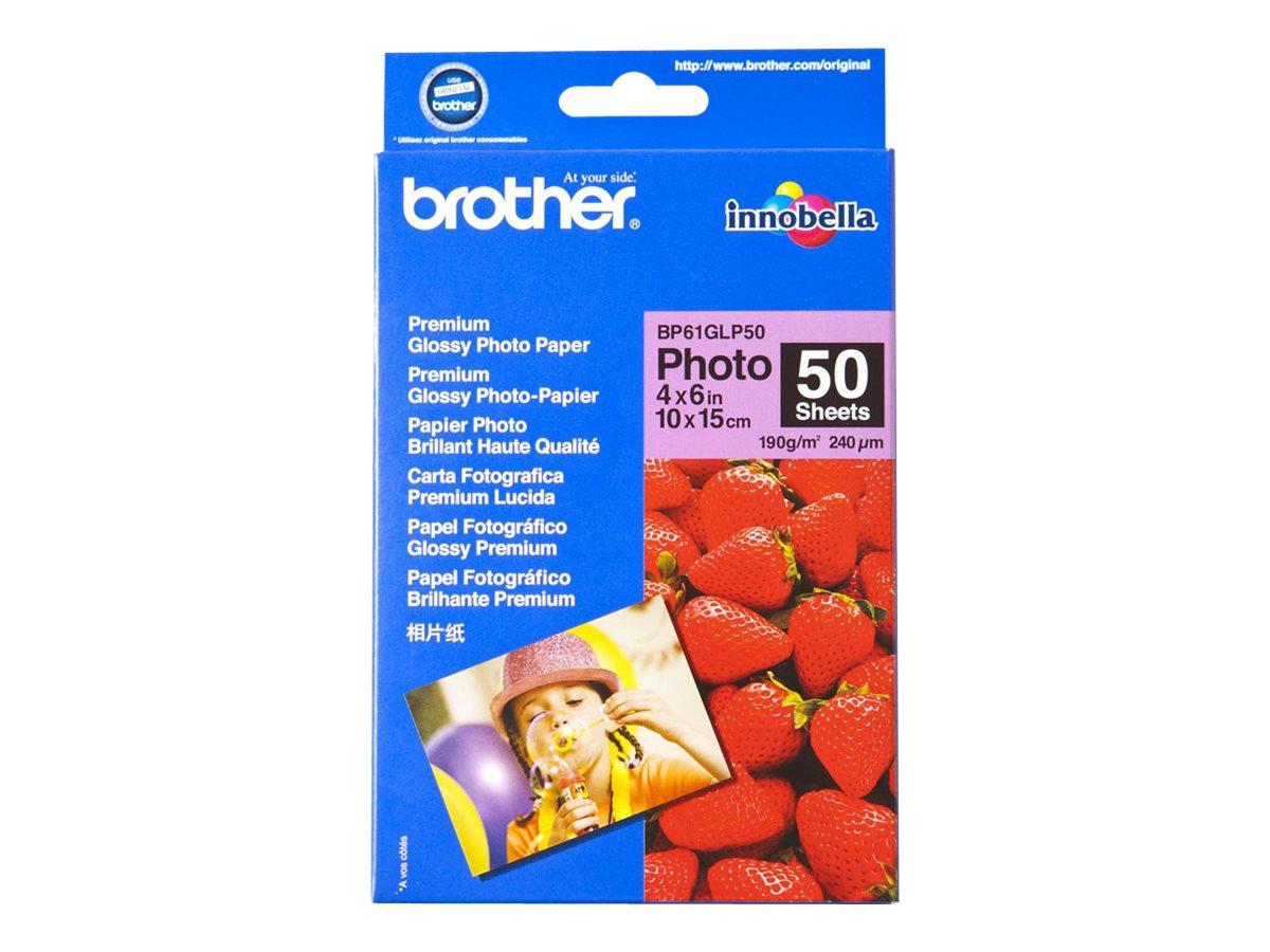 Brother BP 61GLP50 Premium Glossy Photo Paper - Glänzend - 9 mil - 102 x 152 mm - 190 g/m² - 50 Blatt Fotopapier