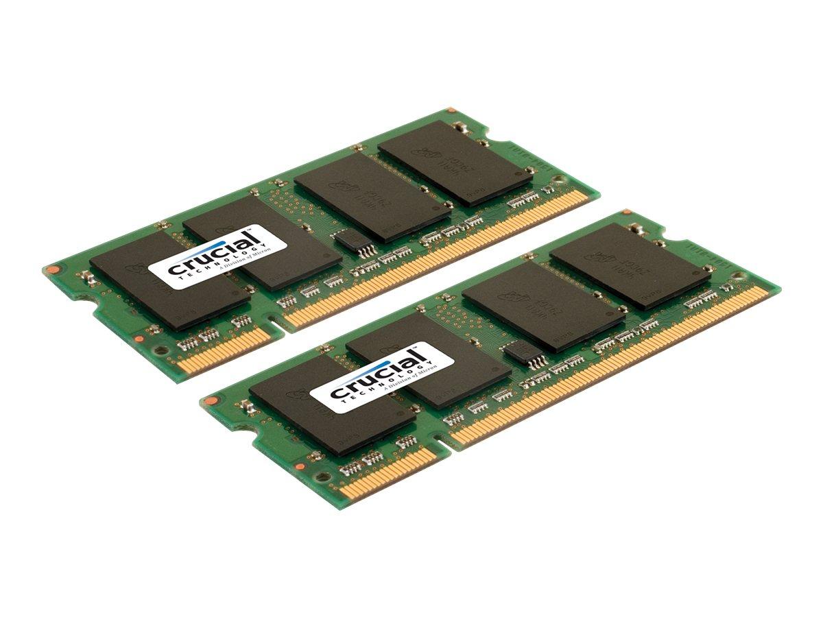 Crucial - DDR2 - 2 GB: 2 x 1 GB - SO DIMM 200-PIN - 667 MHz / PC2-5300 - CL5