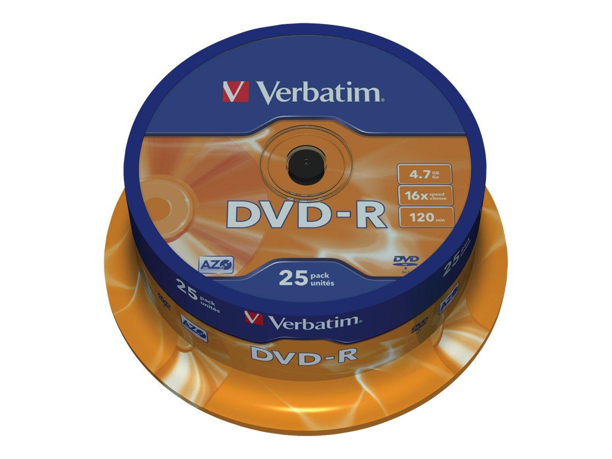 Verbatim - 25 x DVD-R - 4.7 GB 16x - mattsilber - Spindel