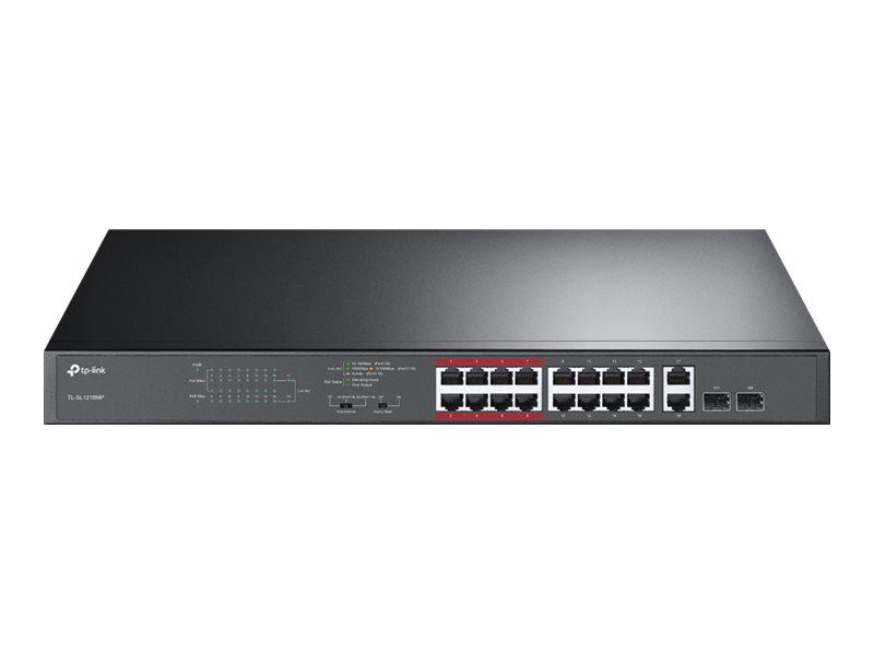 TP-Link TL-SL1218MP - Switch - nicht verwaltet - 16 x 10/100 (PoE+) + 2 x 10/100/1000 + 2 x Kombi-Gigabit-SFP - an Rack montierb
