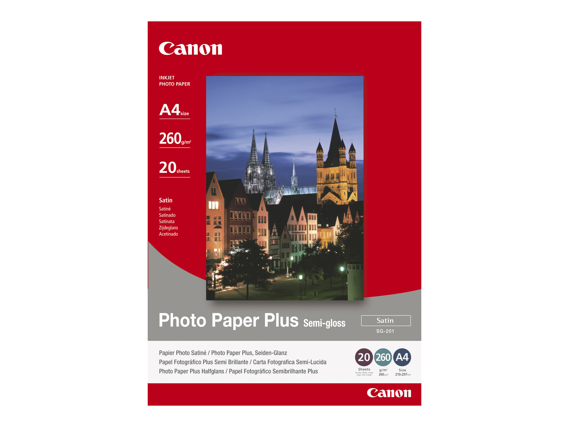 Canon Photo Paper Plus SG-201 - Halbglänzend satiniert - 101.6 x 152.4 mm - 260 g/m² - 50 Blatt Fotopapier - für PIXMA iP3680, i