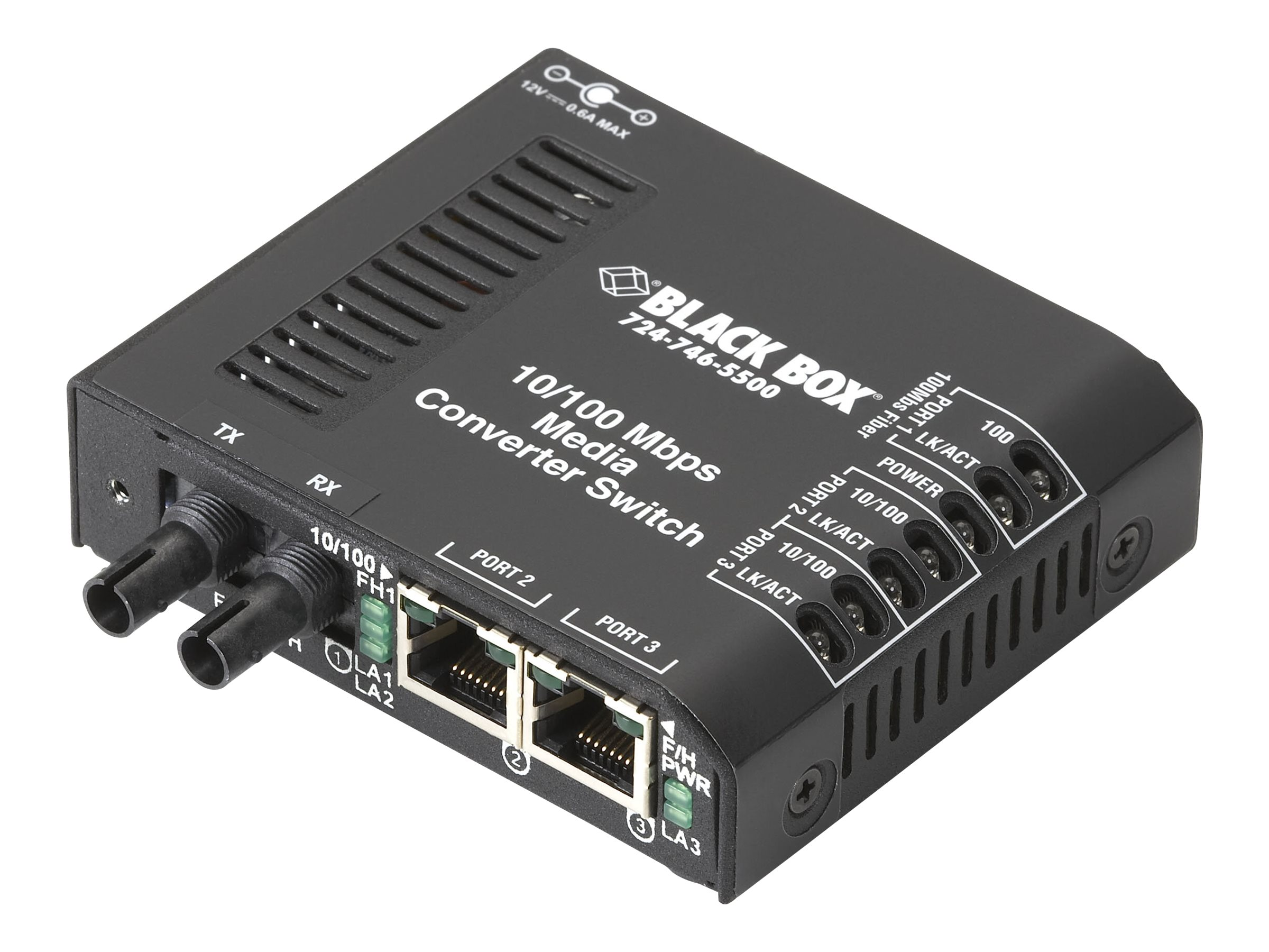 Black Box Media Converter Switch 10/100-Mbps Copper to 100-Mbps Fiber, 115-VAC, Multimode, ST - Medienkonverter - 100Mb LAN - 10