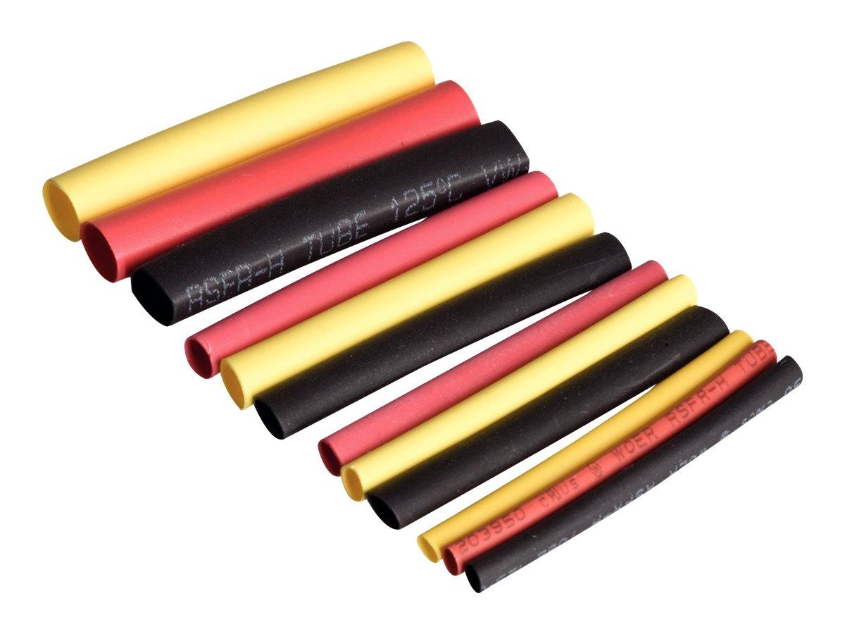 Rapid Shrink Tubings Set1 - Schrumpfschlauch - Schwarz, Gelb, Rot (Packung mit 72)