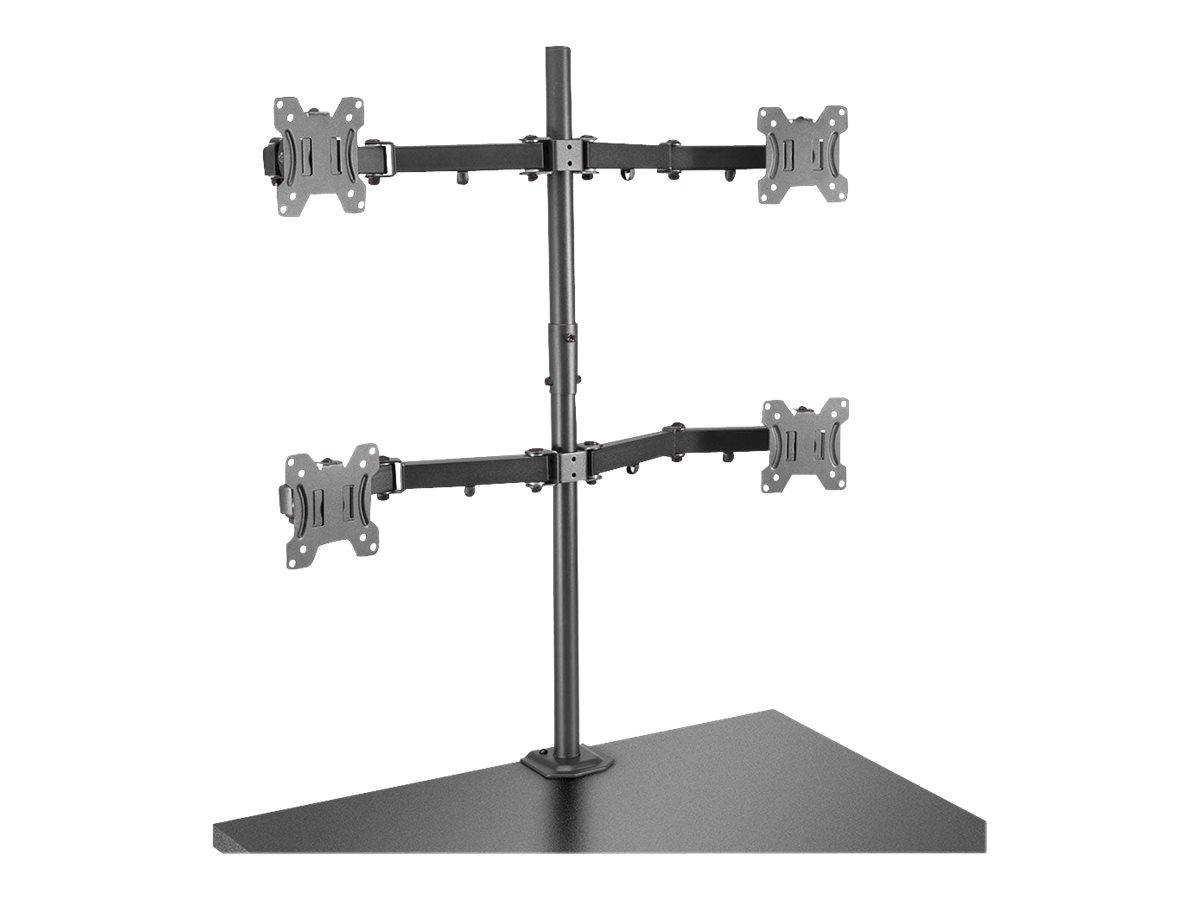 Lindy Quad Display Bracket w/ Pole & Desk Clamp - Befestigungskit für 4 Monitore (einstellbarer Arm) - Stahl - Schwarz - Bildsch
