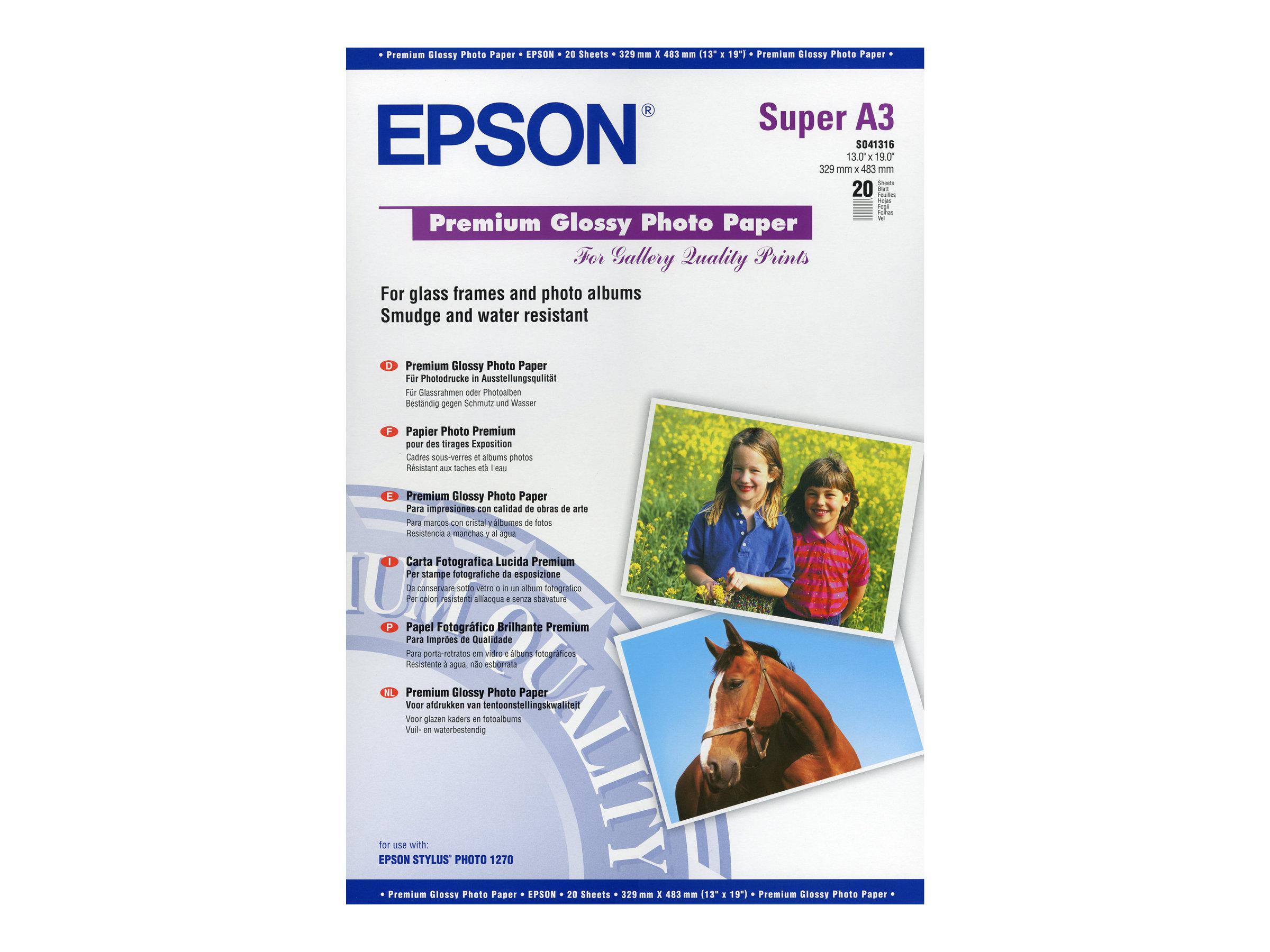 Epson Premium - Glänzend - Super A3/B (330 x 483 mm) - 255 g/m² - 20 Blatt Fotopapier - für SureColor SC-P700, P7500, P900, P950