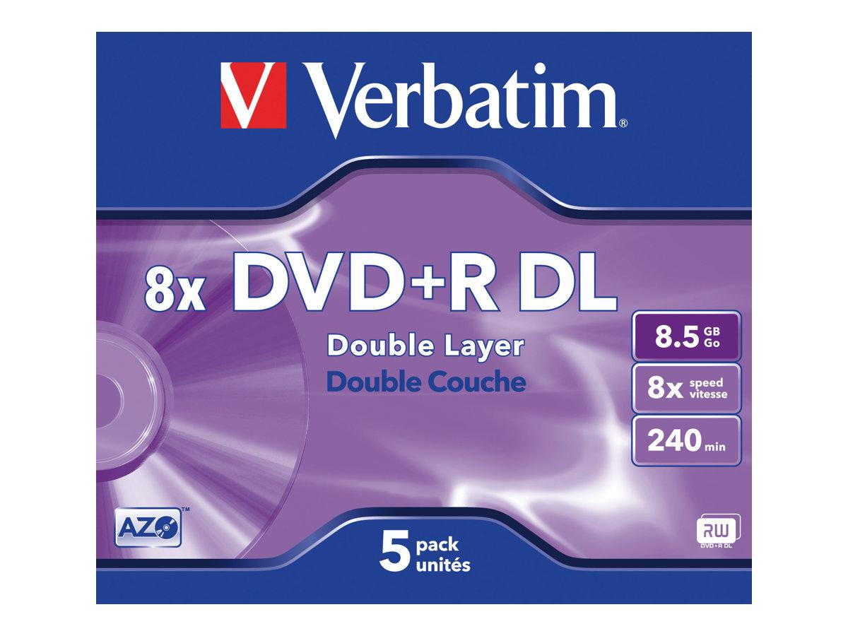 Verbatim - 5 x DVD+R DL - 8.5 GB (240 Min.) 8x - mattsilber - Jewel Case (Schachtel)