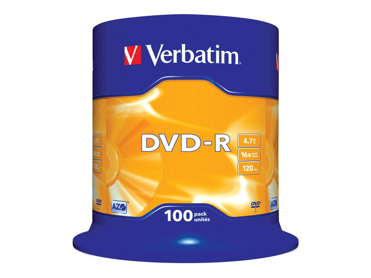 Verbatim - 100 x DVD-R - 4.7 GB 16x - mattsilber - Spindel