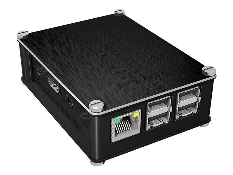 ICY BOX IB-RP102 - Hülle - Aluminium - Schwarz - für Raspberry Pi 2 Model B, 2 Model B V1.2, 3 Model B
