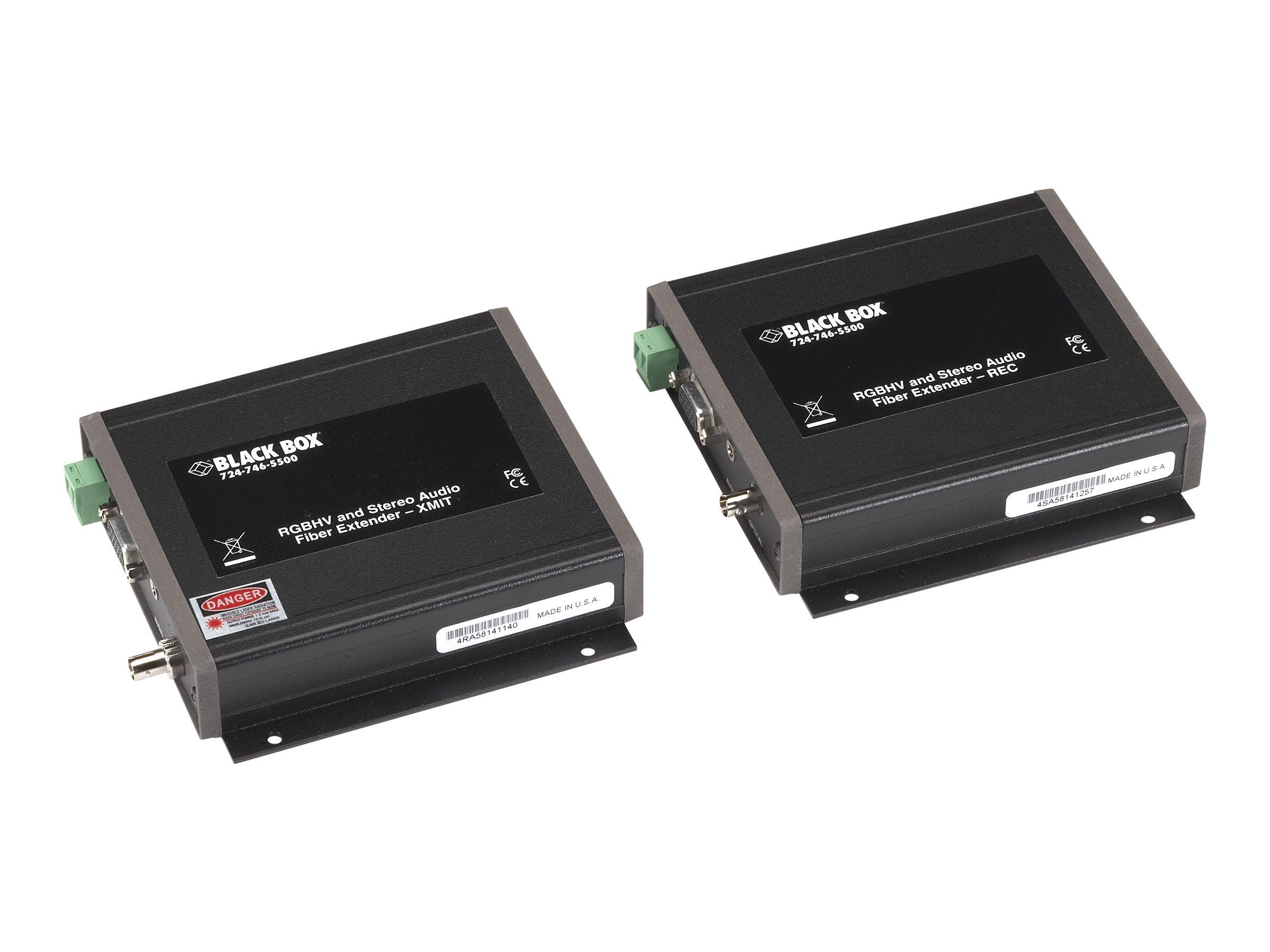 Black Box RGBHV/Stereo-Audio Fiber Extender - Monitor-/Audio-Erweiterung - bis zu 30 km - 1310 nm