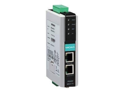 Moxa MGate MB3270-T-IEX - Gateway - 2 Anschlüsse - 100Mb LAN, RS-232, RS-422, RS-485, Modbus - Gleichstrom - Schienenmontage mög