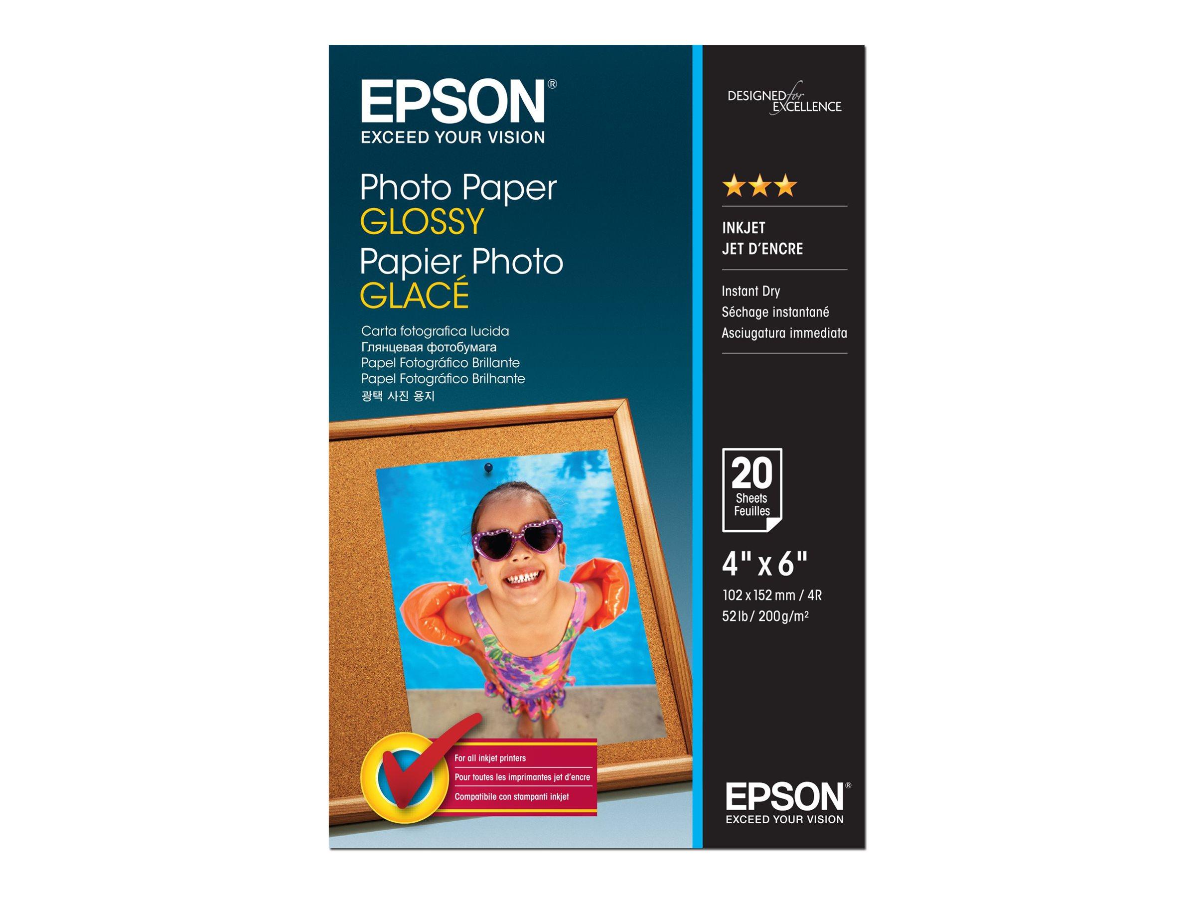 Epson - Glänzend - 102 x 152 mm - 200 g/m² - 20 Blatt Fotopapier - für EcoTank ET-1110, 2756; WorkForce ET-4700, WF-7725; WorkFo