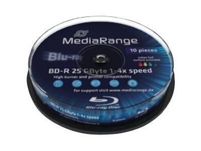 MediaRange Inkjet Fullsurface-Printable - 10 x BD-R - 25 GB 4x - mit Tintenstrahldrucker bedruckbare Oberfläche - Spindel