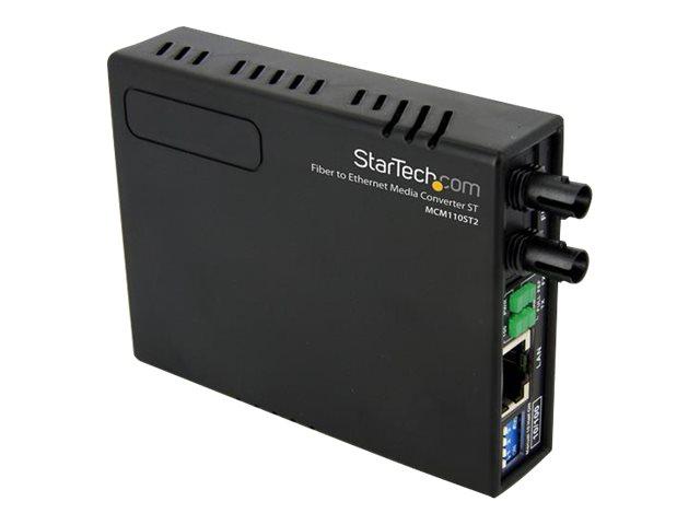 StarTech.com 10/100 Mbit/s Fast Ethernet Multimode ST LWL / Glasfaser Kupfer Medienkonverter - 2km - Medienkonverter - 100Mb LAN