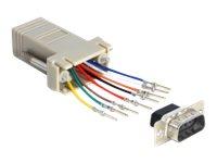 DeLOCK Adapter Sub-D 9 Pin male > RJ45 female assembly kit - Serieller Adapter - RJ-45 (W) bis DB-9 (M)