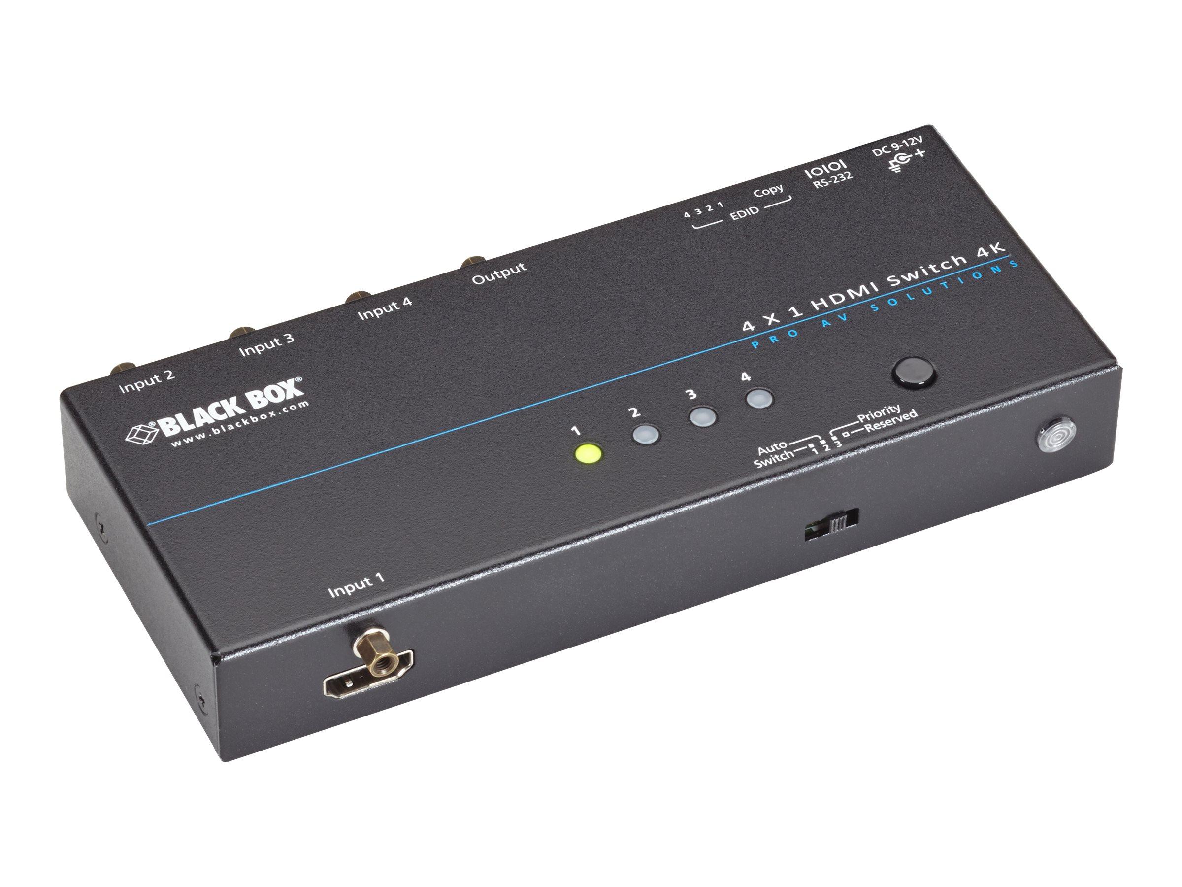 Black Box 4K HDMI Switch 2 x 1 - Video-Schalter - 2 x HDMI - Desktop - TAA-konform