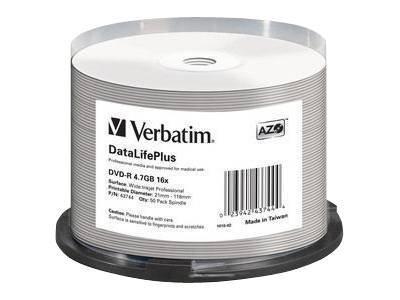 Verbatim DataLifePlus Professional - 50 x DVD-R - 4.7 GB 16x - weiss - mit Tintenstrahldrucker bedruckbare Oberfläche, breite be