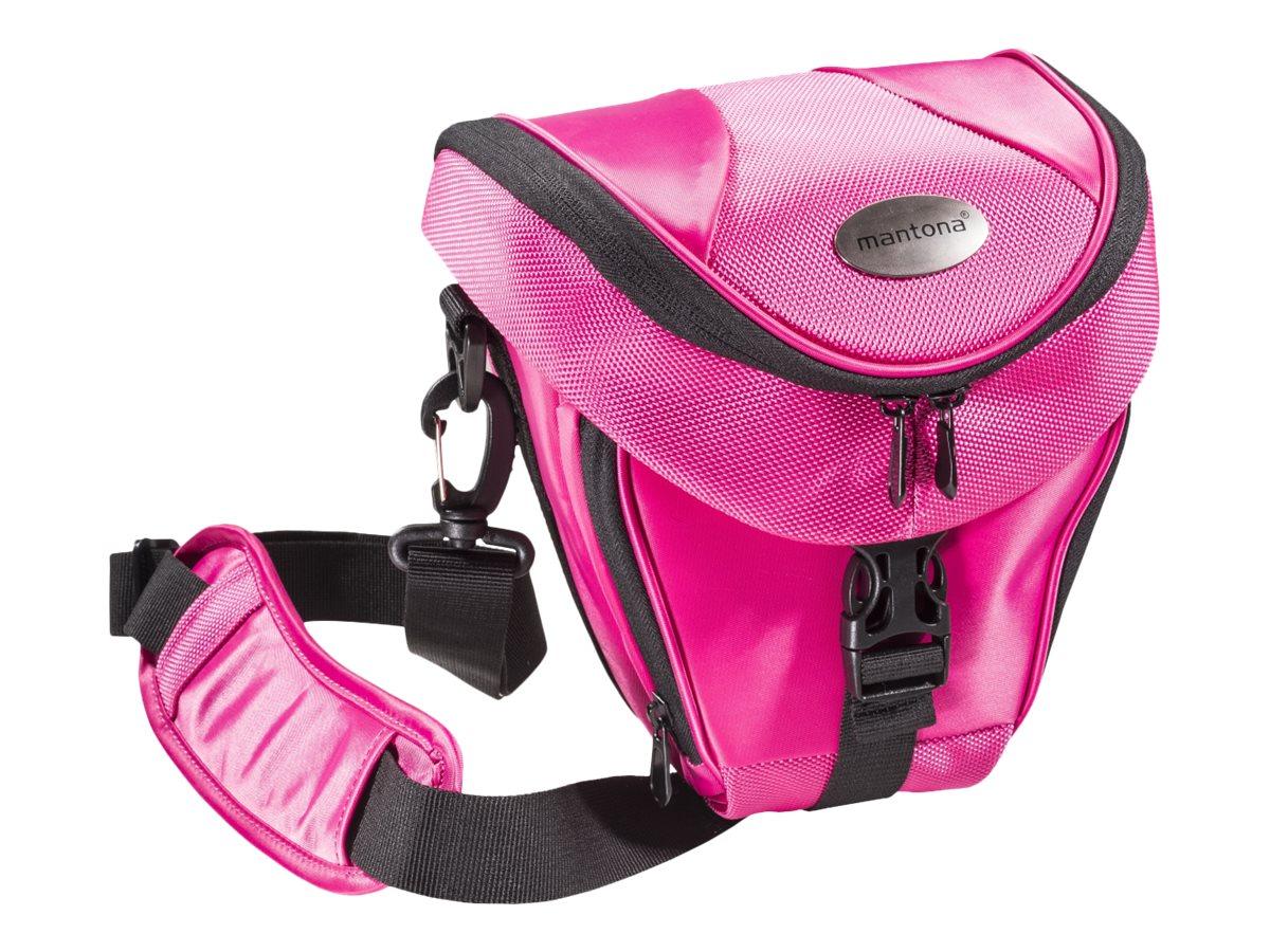 mantona Premium Colttasche - Schultertasche für Digitalkamera mit Objektiven - Polyester - pink