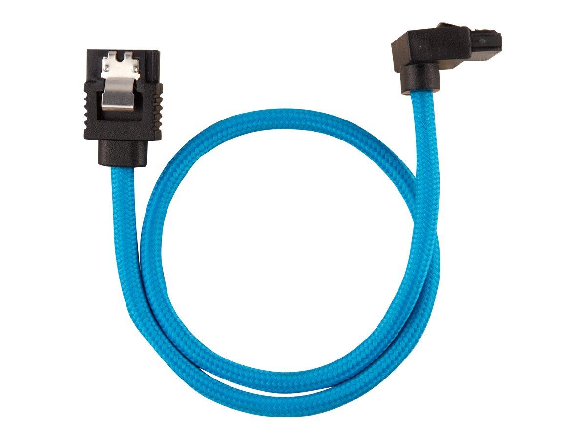 CORSAIR Premium Sleeved - SATA-Kabel - Serial ATA 150/300/600 - SATA (M) straight, latched bis SATA (M) rechtwinklig - 30 cm - B