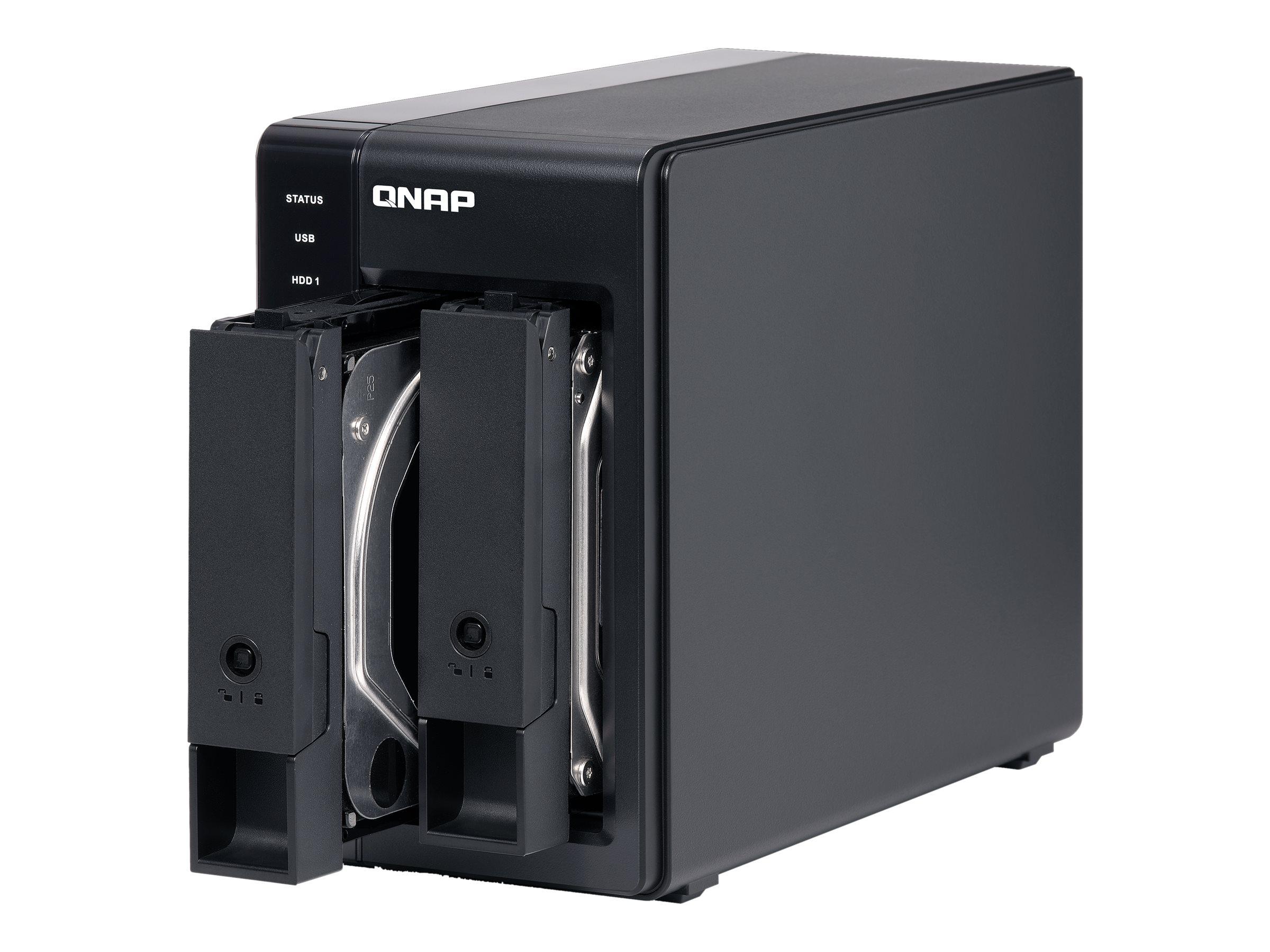 QNAP TR-002 - Festplatten-Array - 2 Schächte (SATA-600) - USB 3.1 Gen 2 (extern)