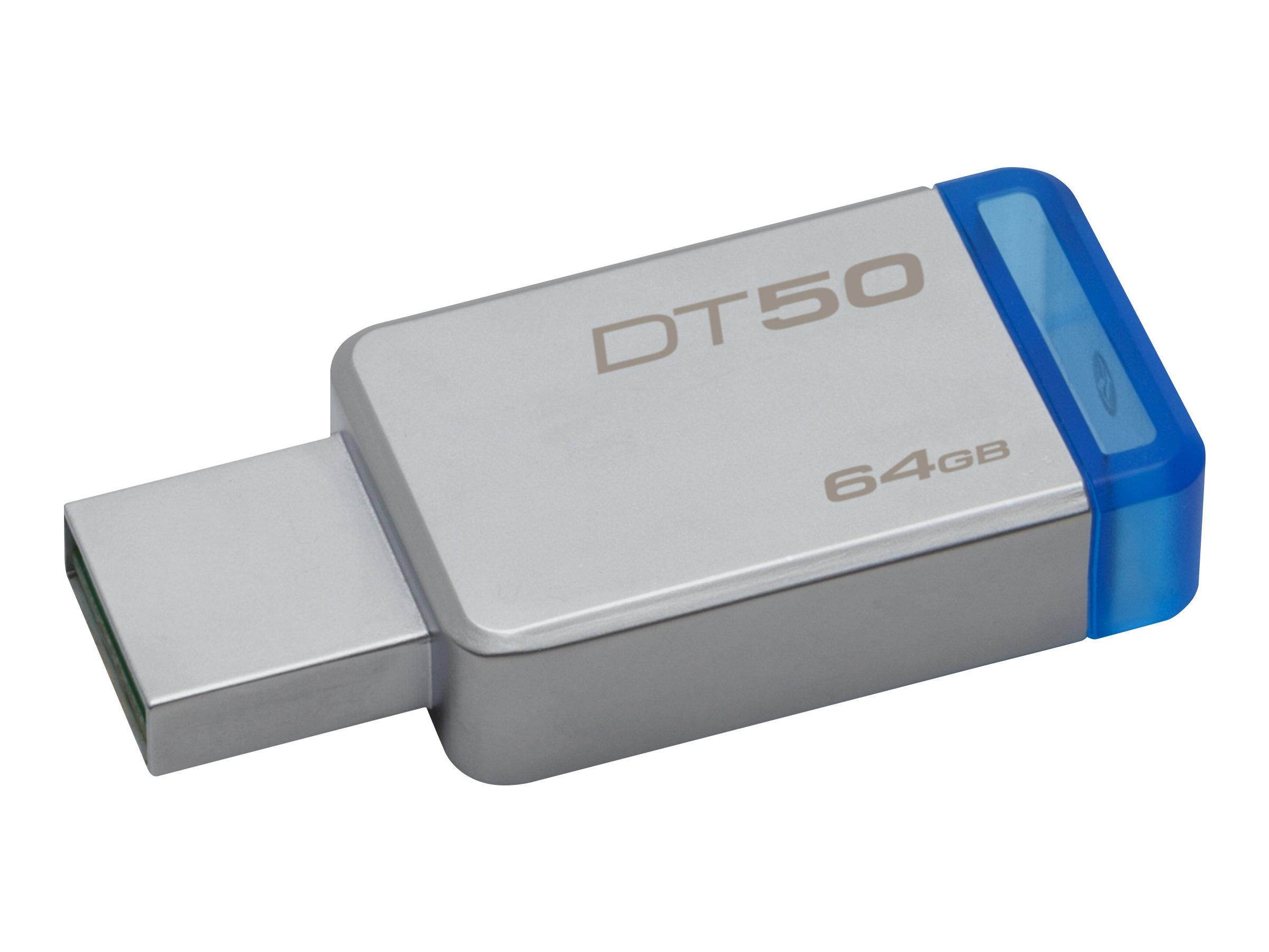 Kingston DataTraveler 50 - USB-Flash-Laufwerk - 64 GB - USB 3.1 - Blau