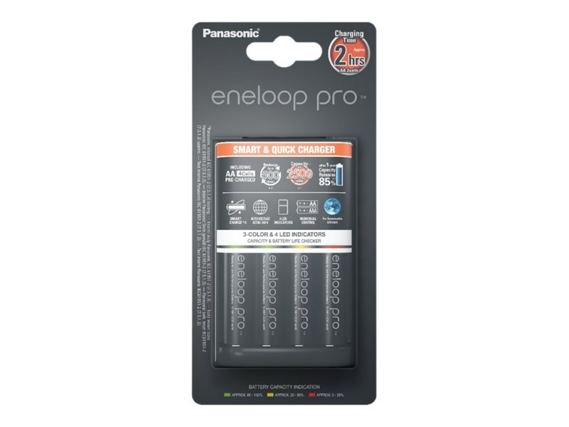 Panasonic eneloop pro smart & quick K-KJ55HCD40E - Batterieladegerät - 3 Std. - 4xAA, 4xAAA - enthaltene Batterien: 4 x AA-Typ N