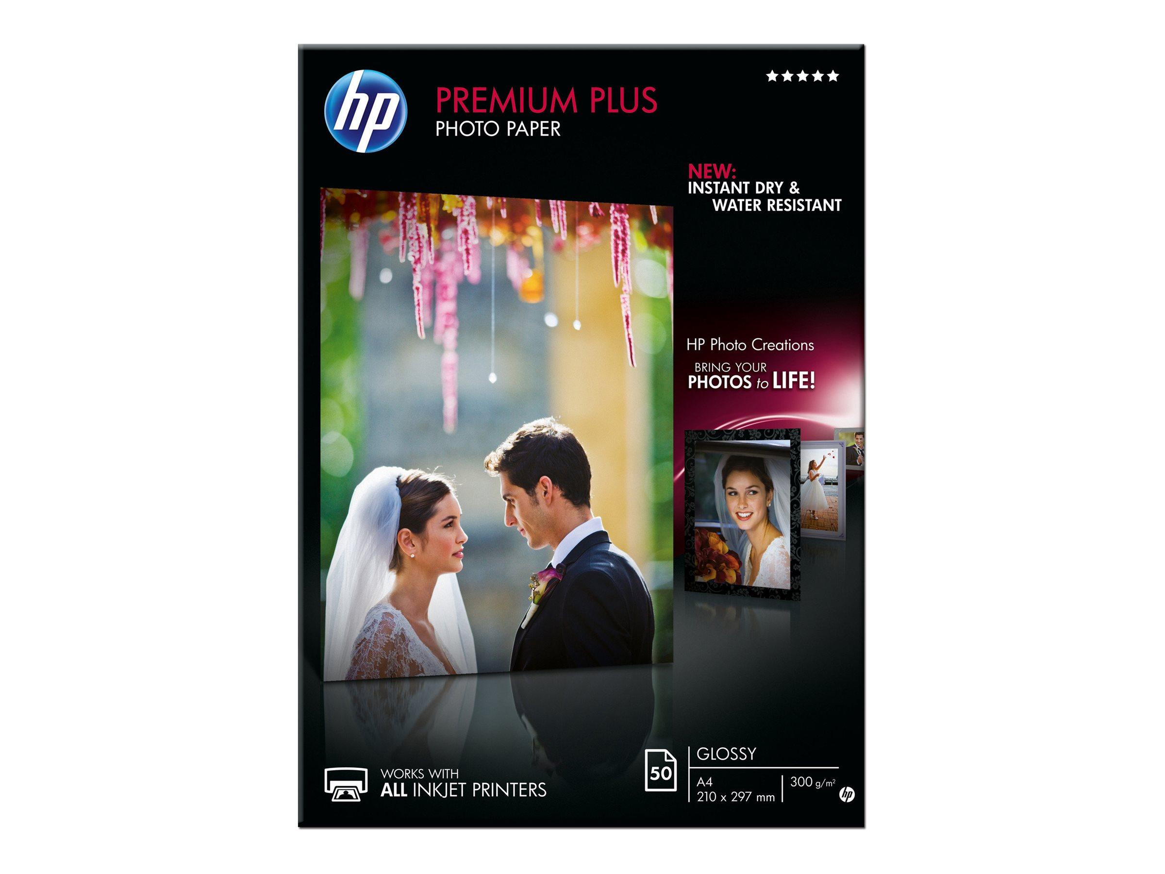 HP Premium Plus Photo Paper - Glänzend - A4 (210 x 297 mm) - 300 g/m² - 50 Blatt Fotopapier - für Envy 50XX, 7645; Officejet 52X