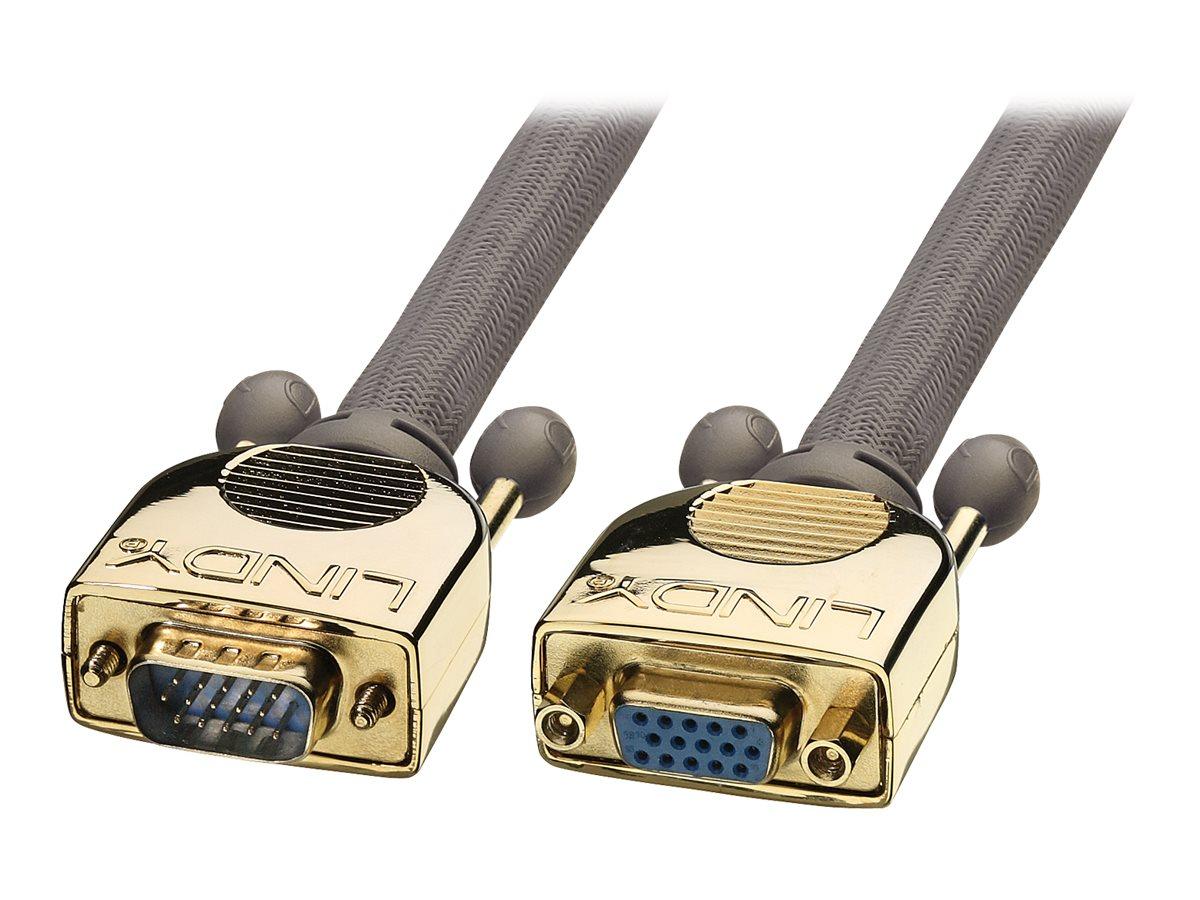 Lindy Premium Gold - VGA-Verlängerungskabel - HD-15 (VGA) (W) bis HD-15 (VGA) (M) - 50 m - Daumenschrauben - Anthrazit