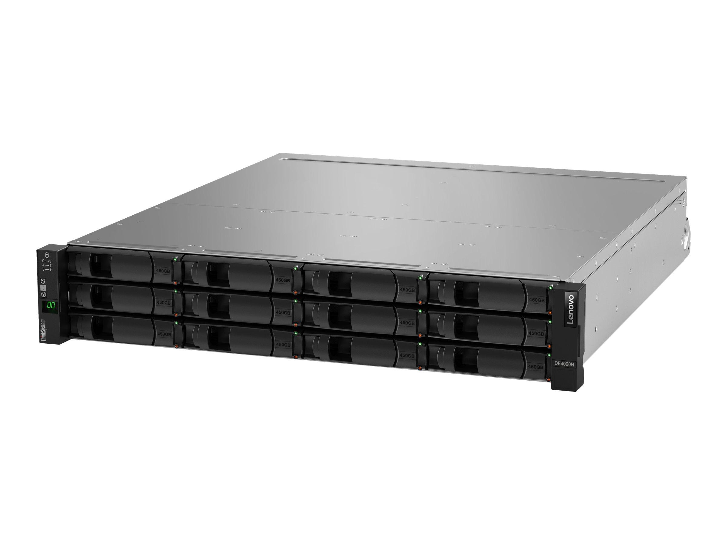 Lenovo ThinkSystem DE4000H Hybrid 2U12 LFF controller enclosure - Festplatten-Array - 12 Schächte (SAS-3) - 16Gb Fibre Channel (