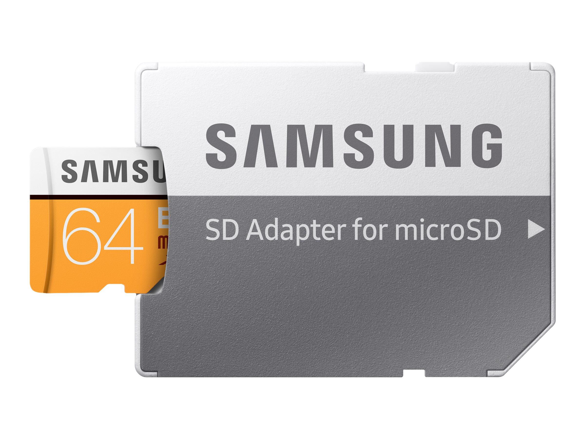 Samsung EVO MB-MP64GA - Flash-Speicherkarte (microSDXC-an-SD-Adapter inbegriffen) - 64 GB - UHS-I U3 / Class10 - microSDXC UHS-I