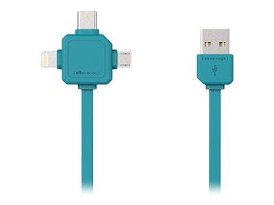 Allocacoc - Lightning-Kabel - USB (M) bis Micro-USB Typ B, Lightning, USB-C (M) - 1.5 m - allocacoc teal