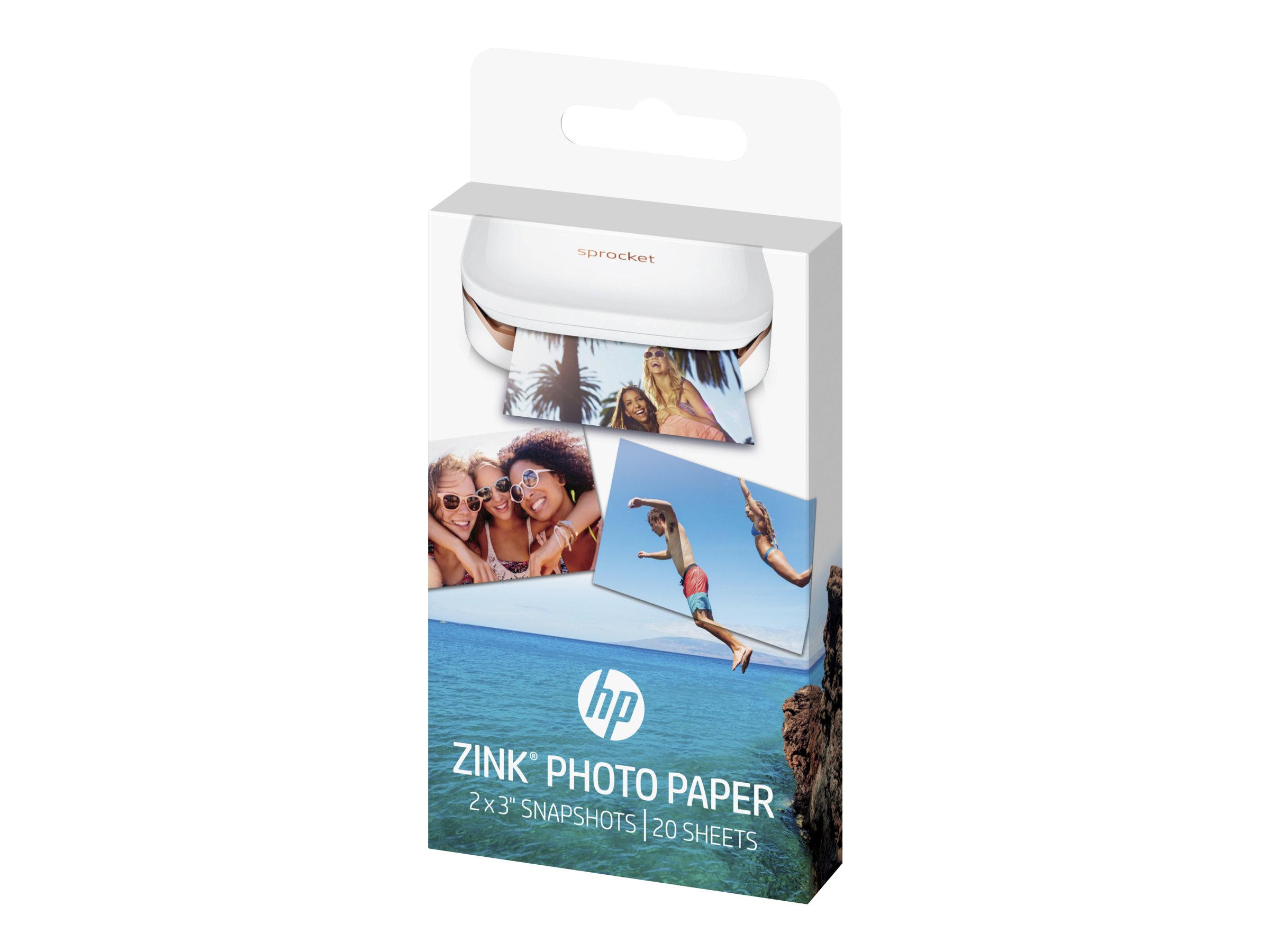 HP ZINK Sticky-Backed Photo Paper - Selbstklebend - glänzende Ausführung - 50 x 76 mm - 290 g/m² - 20 Blatt Fotopapier