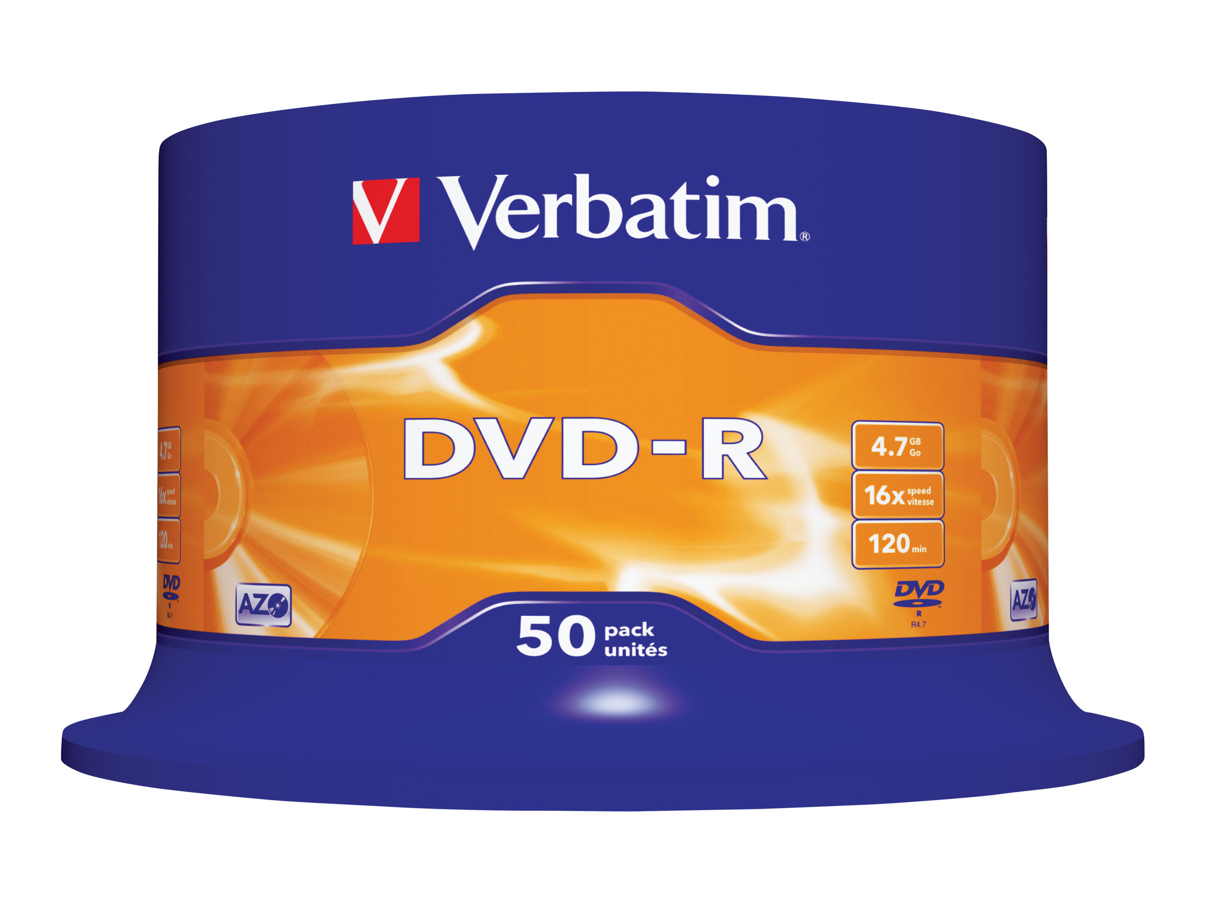 Verbatim - 50 x DVD-R - 4.7 GB 16x - mattsilber - Spindel