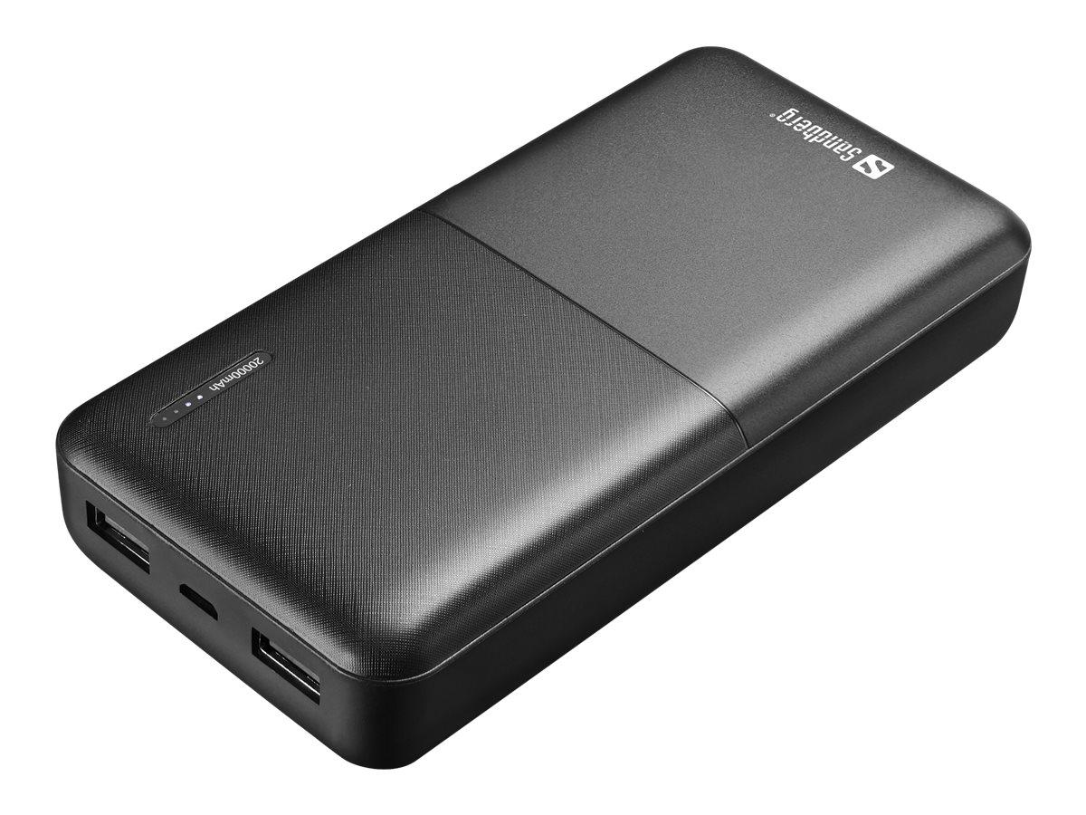 Sandberg SAVER - Powerbank - 20000 mAh - 2.4 A - 2 Ausgabeanschlussstellen (USB)