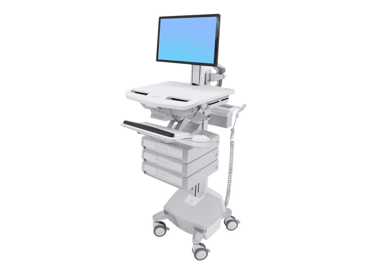 Ergotron Cart with LCD Pivot, LiFe Powered, 3 Drawers - Wagen für LCD-Display/Tastatur/Maus/CPU/Notebook/Barcodescanner - verrie