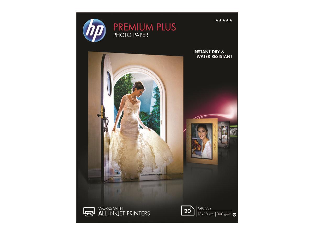 HP Premium Plus Photo Paper - Glänzend - 130 x 180 mm - 300 g/m² - 20 Blatt Fotopapier - für Envy 50XX, 7645; Officejet 52XX, 76