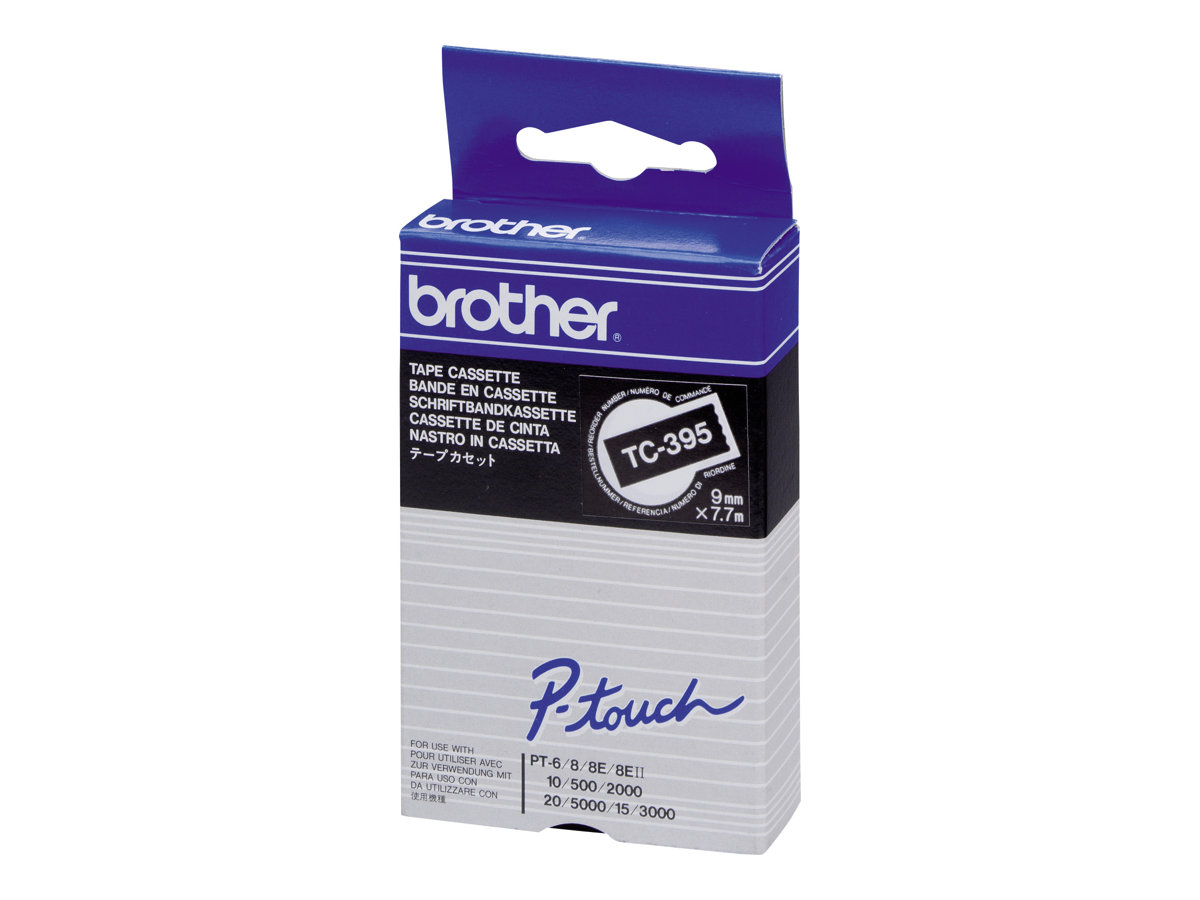 Brother - Schwarz, weiss - Rolle (0,9 cm x 8 m) 1 Rolle(n) laminiertes Band - für P-Touch PT-2000, PT-3000, PT-500, PT-5000, PT-