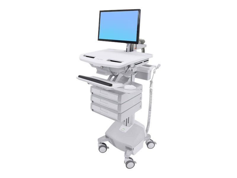 Ergotron Cart with LCD Arm, LiFe Powered, 3 Drawers - Wagen für LCD-Display/Tastatur/Maus/CPU/Notebook/Barcodescanner (offene Ar
