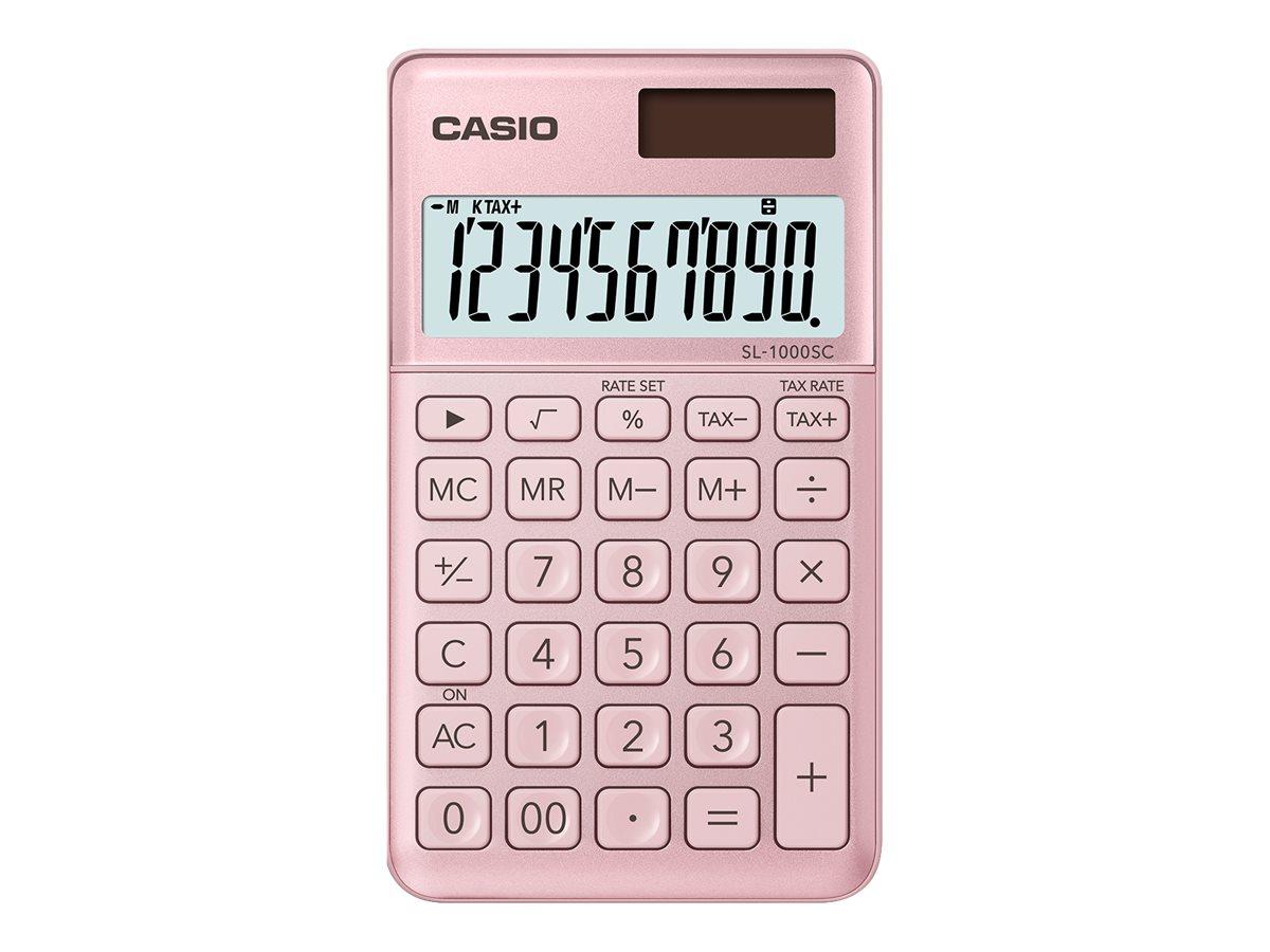 Casio SL-1000SC - Taschenrechner - 10 Stellen - Solarpanel, Batterie - pink