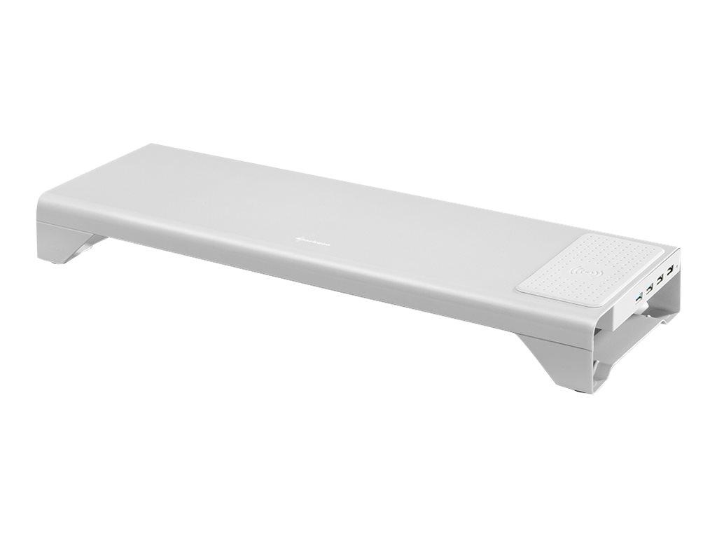 Sharkoon Monitor Stand POWER - Notebook- / LCD-Monitorständer - mit 4-Port-USB-Hub, wireless charger - Desktop - Grau