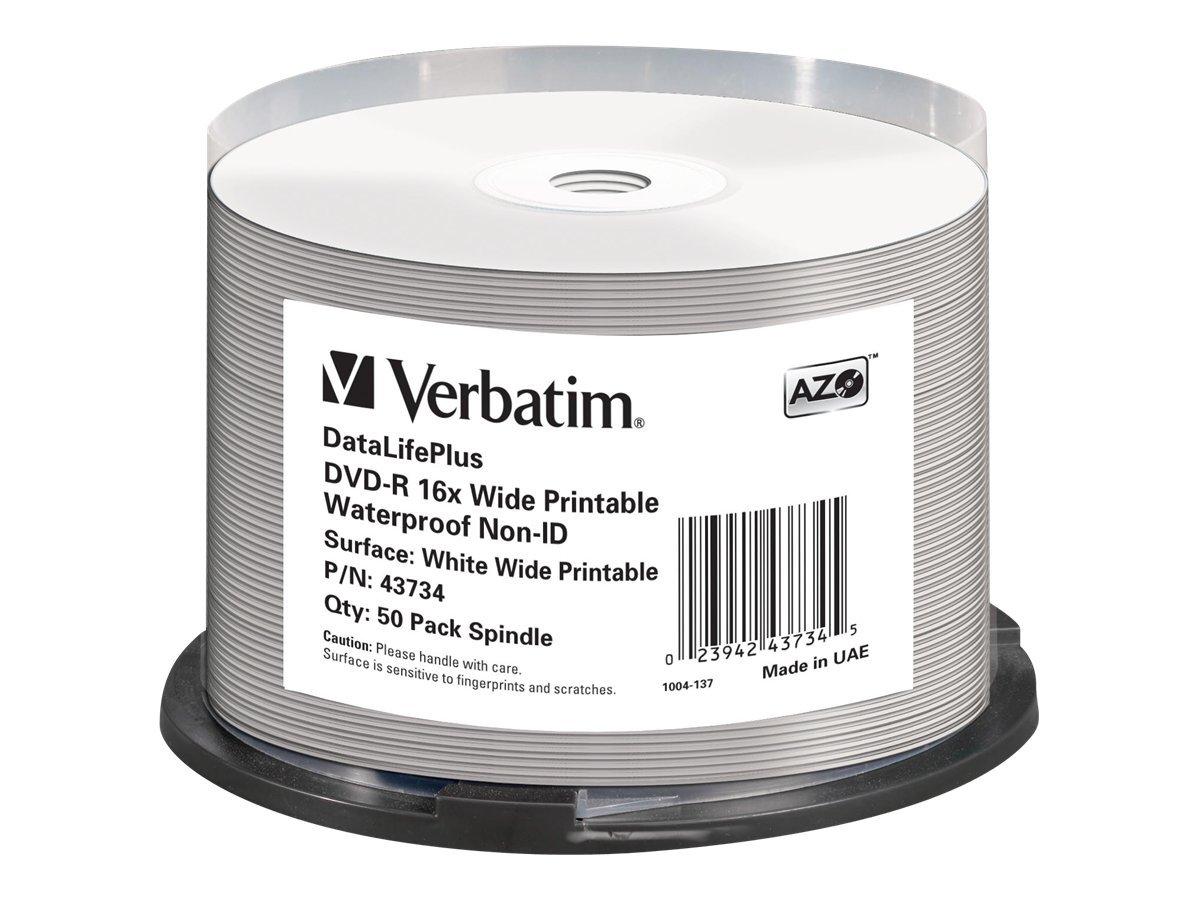 Verbatim DataLifePlus - 50 x DVD-R - 4.7 GB 16x - mit Tintenstrahldrucker bedruckbare Oberfläche, breite bedruckbare Oberfläche